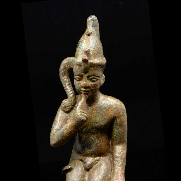 An Egyptian Bronze Figure of Harpokrates, Saite Period, ca. 664 - 552 BCE - Sands of Time Ancient Art