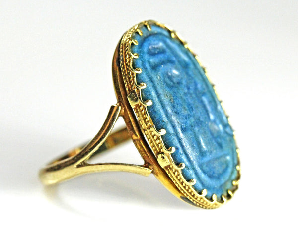 An Amarna Blue Faience Ring Bezel, Egypt, 18th Dynasty, ca 1352-1336 BC - Sands of Time Ancient Art