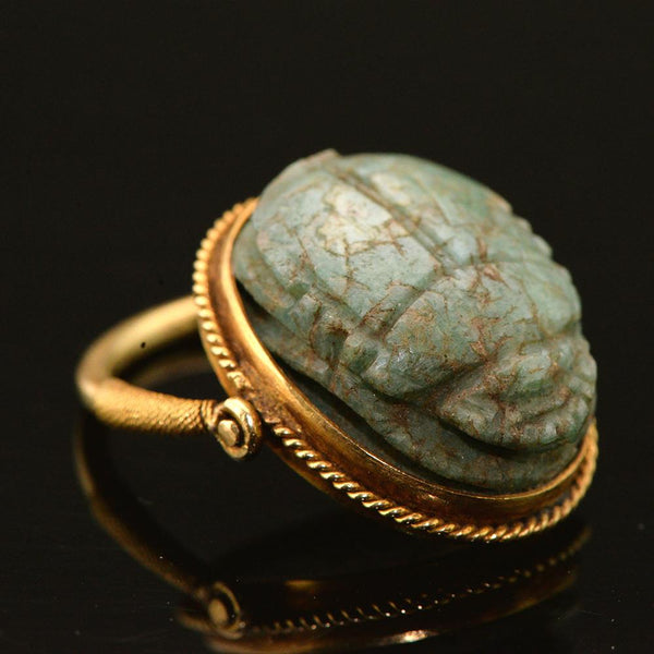 * An Egyptian Feldspar Scarab set as a ring, Late Period ca.664 - 332 B.C. - Sands of Time Ancient Art