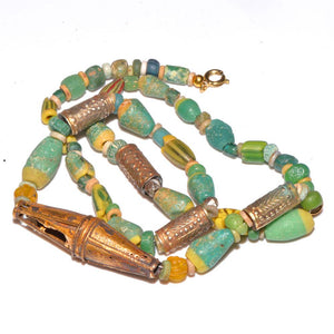 * An Egyptian Glass & Gold Bead Necklace, Ptolemaic Period, ca 332 - 30 BC - Sands of Time Ancient Art