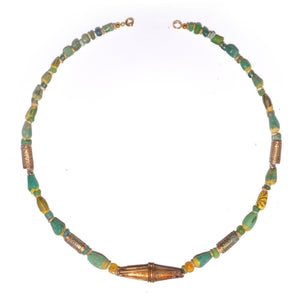 * An Egyptian Glass & Gold Bead Necklace, Ptolemaic Period, ca 332 - 30 BC