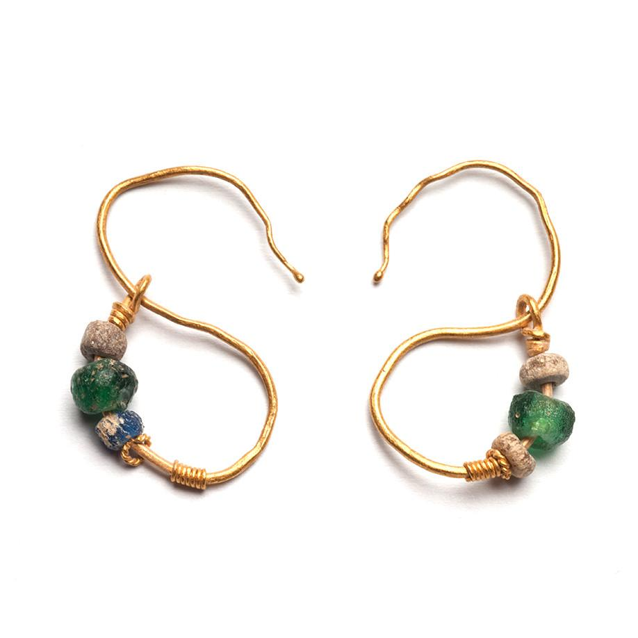 A pair of Egyptian Gold Earrings, Roman Period, ca. 1st Century BCE- 2nd Century CE - Sands of Time Ancient Art