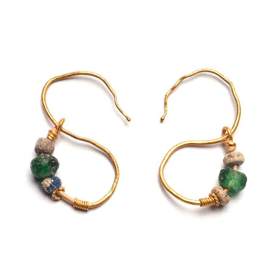 A pair of Egyptian Gold Earrings, Roman Period, ca. 1st Century BC- 2nd Century AD