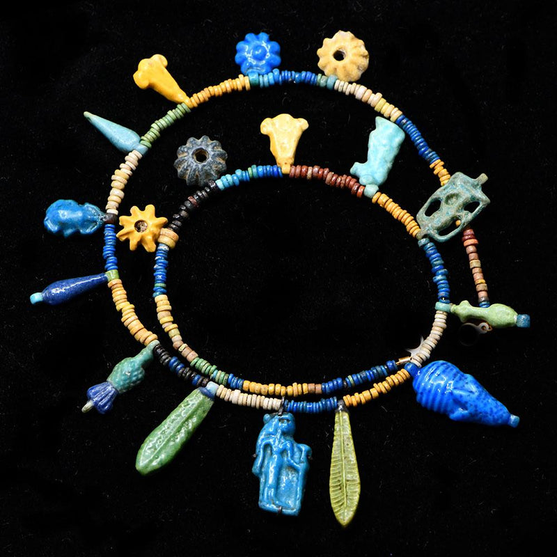 * An Exhibited Egyptian Bead and Amulet Faience Necklace, Amarna Period, ca. 1353–1336 BCE - Sands of Time Ancient Art