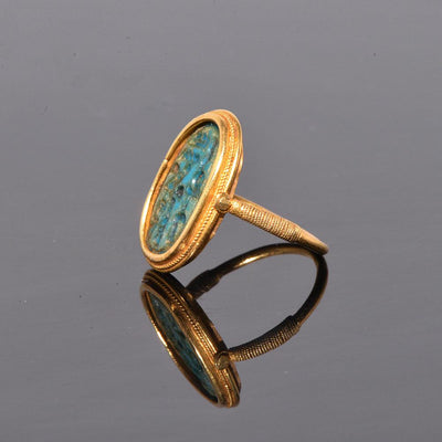A Faience Ring Bezel for Tutankhamun, King of Egypt, 18th Dynasty ca. 1336-1327 BC - Sands of Time Ancient Art