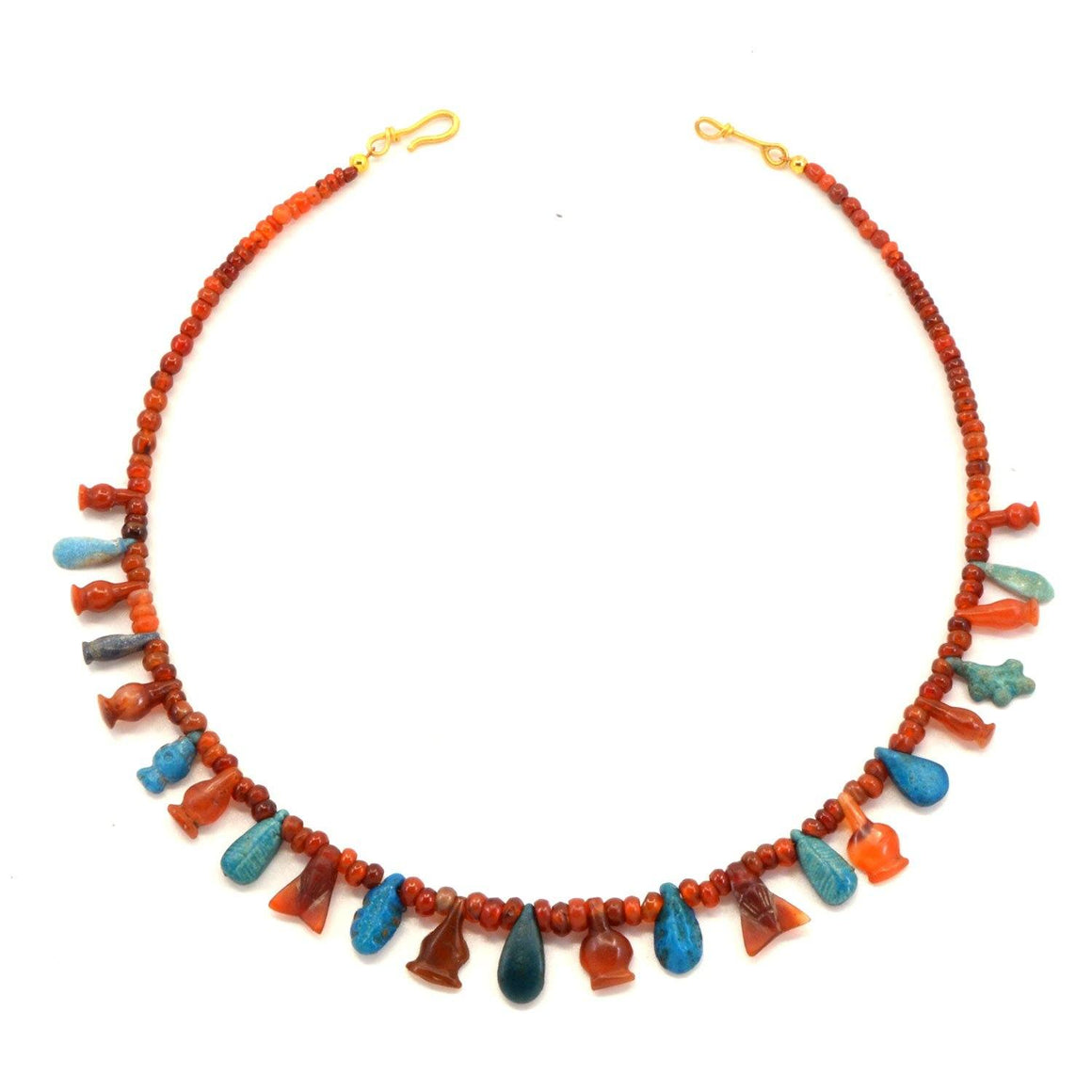 An Egyptian Carnelian and Faience Bead and Pendant Necklace, New Kingdom, ca 1550 - 1069 BCE - Sands of Time Ancient Art