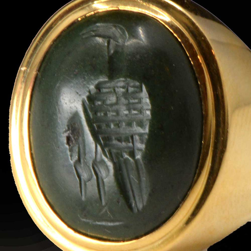 An Egypto-Roman Green Jasper Intaglio ringstone, Ptolemaic - Roman Period, ca. 1st century BCE/CE - Sands of Time Ancient Art
