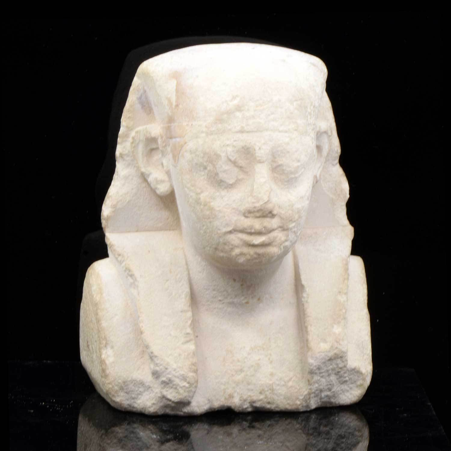 An Egyptian Limestone Sculptor's Model of a Pharaoh, Ptolemaic Period, ca. 332 - 30 BCE - Sands of Time Ancient Art