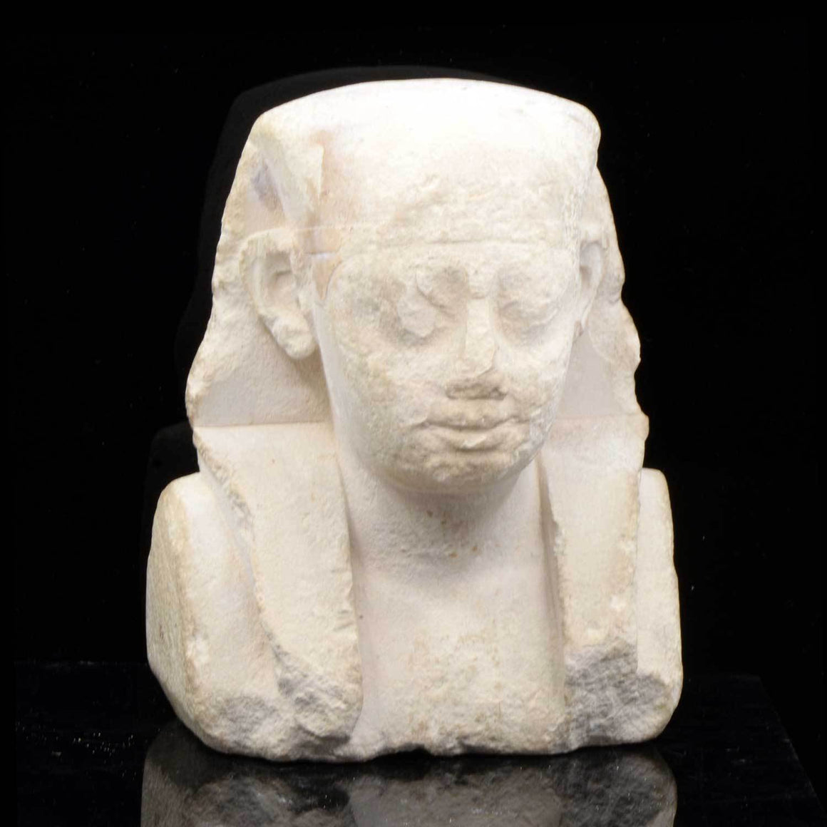 * An Egyptian Limestone Sculptor's Model of a Pharaoh, Ptolemaic Period, ca. 332 - 30 BCE - Sands of Time Ancient Art