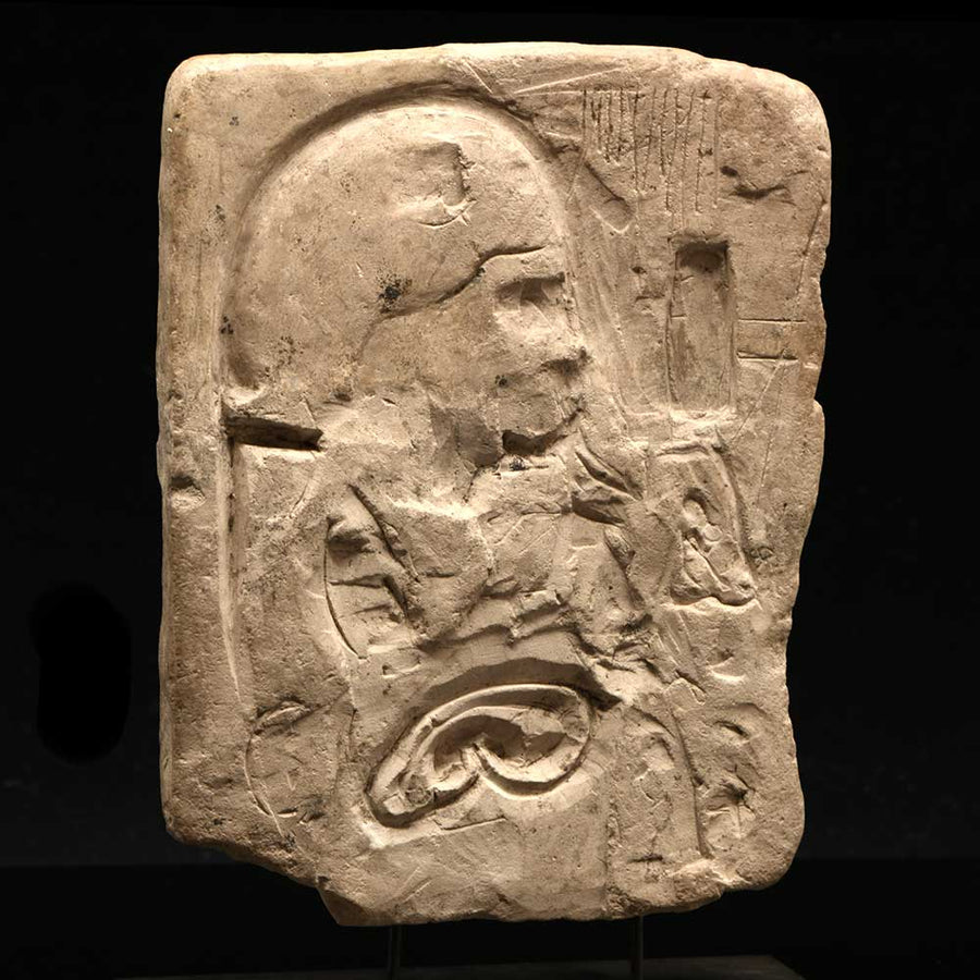* An Egyptian limestone Double-Sided Sculptor's Model of a Priest or King, Ptolemaic Period, ca. 4th - 3rd century BCE - Sands of Time Ancient Art