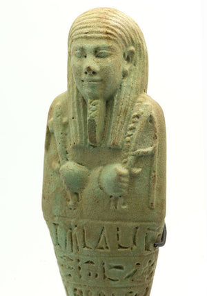 A large Egyptian Green Glazed Ushabti for Ibdibu, 26th Dynasty c. 664 -525 B.C. - Sands of Time Ancient Art