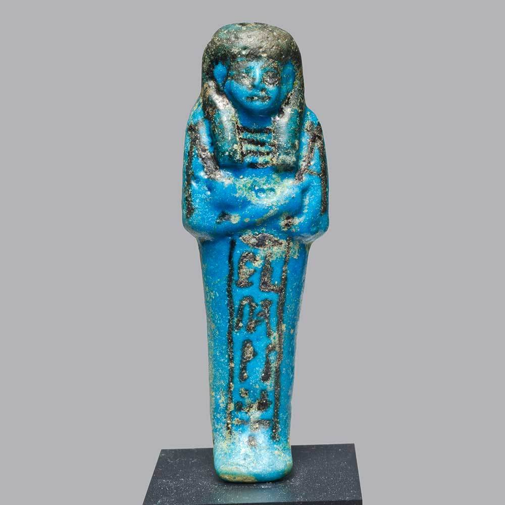 An Egyptian Faience Ushabti for Netchery, New Kingdom, 19th Dynasty, ca. 1295 - 1190 BCE - Sands of Time Ancient Art