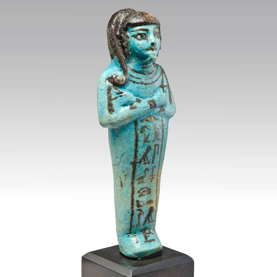 A Published Egyptian Faience Shabti for Prince Khaemwaset, Dynasty 19, ca. 1293-1185 BC - Sands of Time Ancient Art