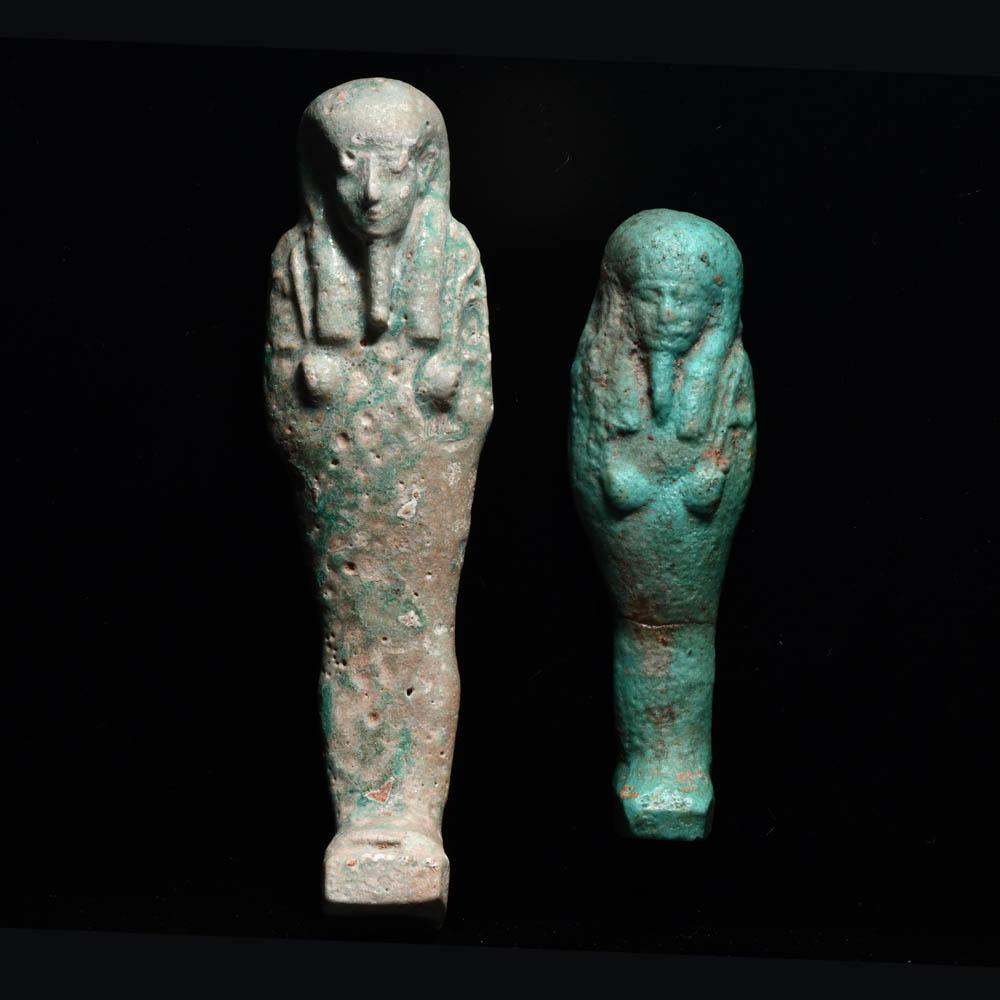 Two Egyptian Faience Shabtis, Late Period, ca. 664 - 332 BCE