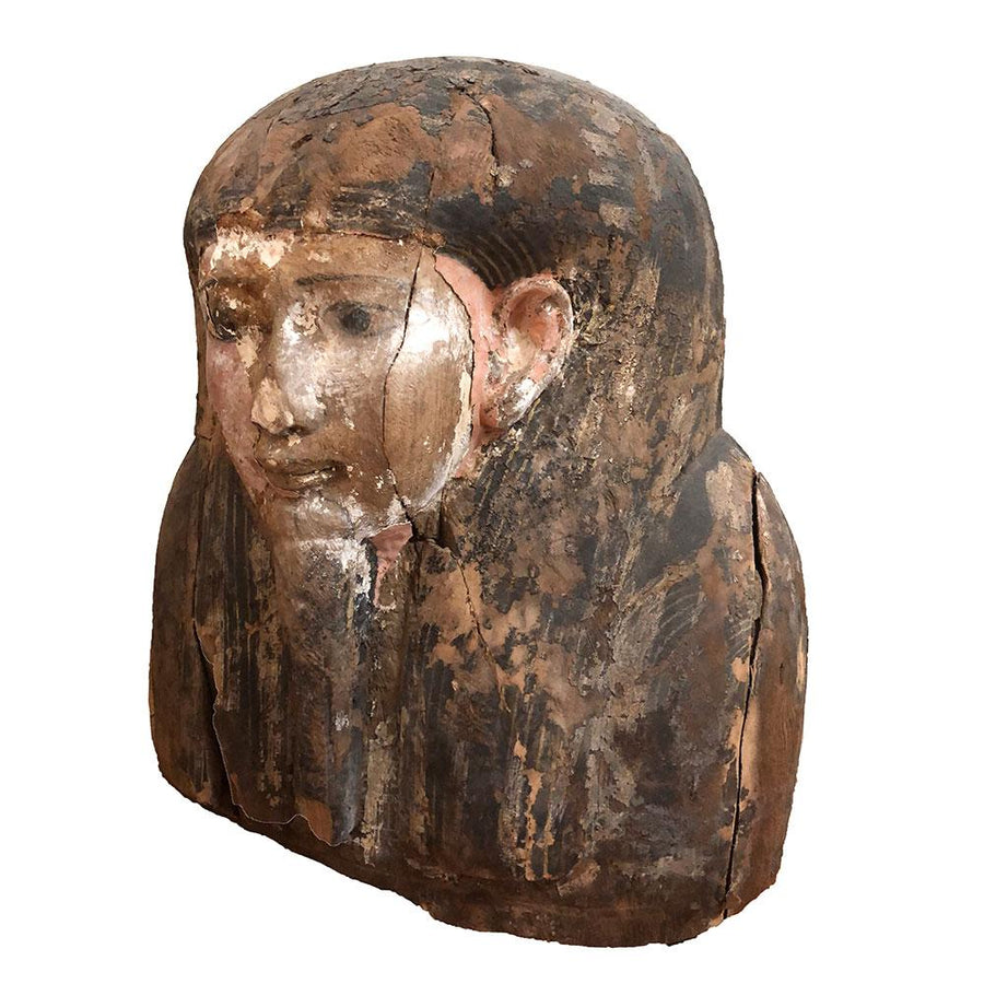 A Large Egyptian Wood Upper Sarcophagus Bust, 26th Dynasty, ca. 664 - 525 B.C. - Sands of Time Ancient Art