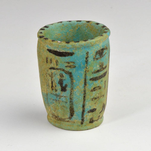 An Egyptian Faience Offering Cup for Ramesses III, 20th Dynasty, 1190 to 1150 BC