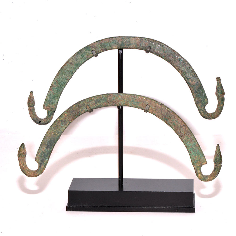 * A Pair of Etruscan Bronze Situla Handles, ca. 4th century BC