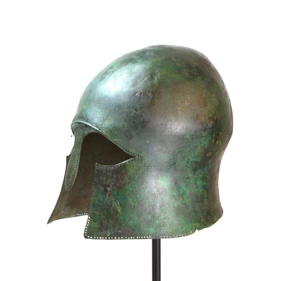 * A Greek Bronze Helmet of Corinthian Type, Archaic Period, ca. mid 6th century B.C. - Sands of Time Ancient Art