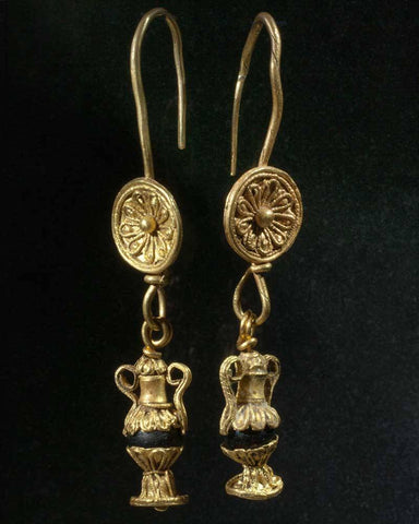 A fine pair of Greek Amphora Earrings, Hellenistic Period, ca 2nd - 1st century BC - Sands of Time Ancient Art
