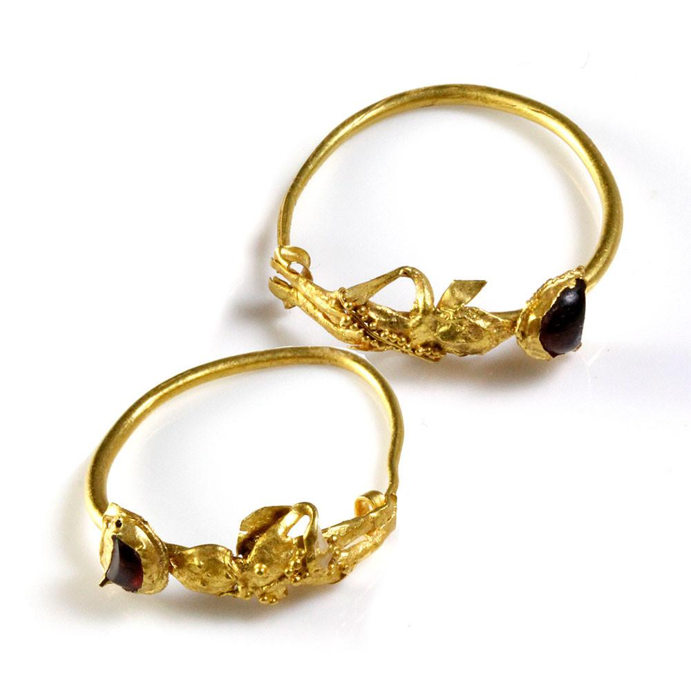 A Pair of Gold & Garnet Earrings of Eros, Hellenistic Period, ca. 2nd - 1st century BCE - Sands of Time Ancient Art