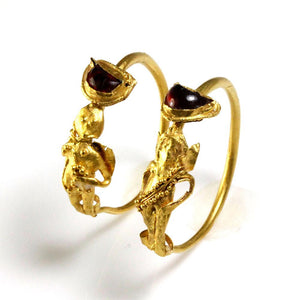A Pair of Gold & Garnet Earrings of Eros, Hellenistic Period, ca 2nd - 1st century B.C. - Sands of Time Ancient Art