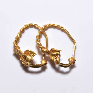 A fine pair of gold figural Eros earrings, Hellenistic Period, ca. 4th-3rd Century BC - Sands of Time Ancient Art