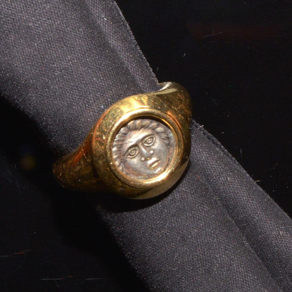 A Thracian silver Apollonia Pontika drachm (ca. 400 - 350 BCE) set in a gold ring - Sands of Time Ancient Art