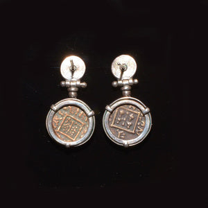 A pair of Thracian bronze coins (ca. 400 - 380 BCE) set in silver earrings - Sands of Time Ancient Art