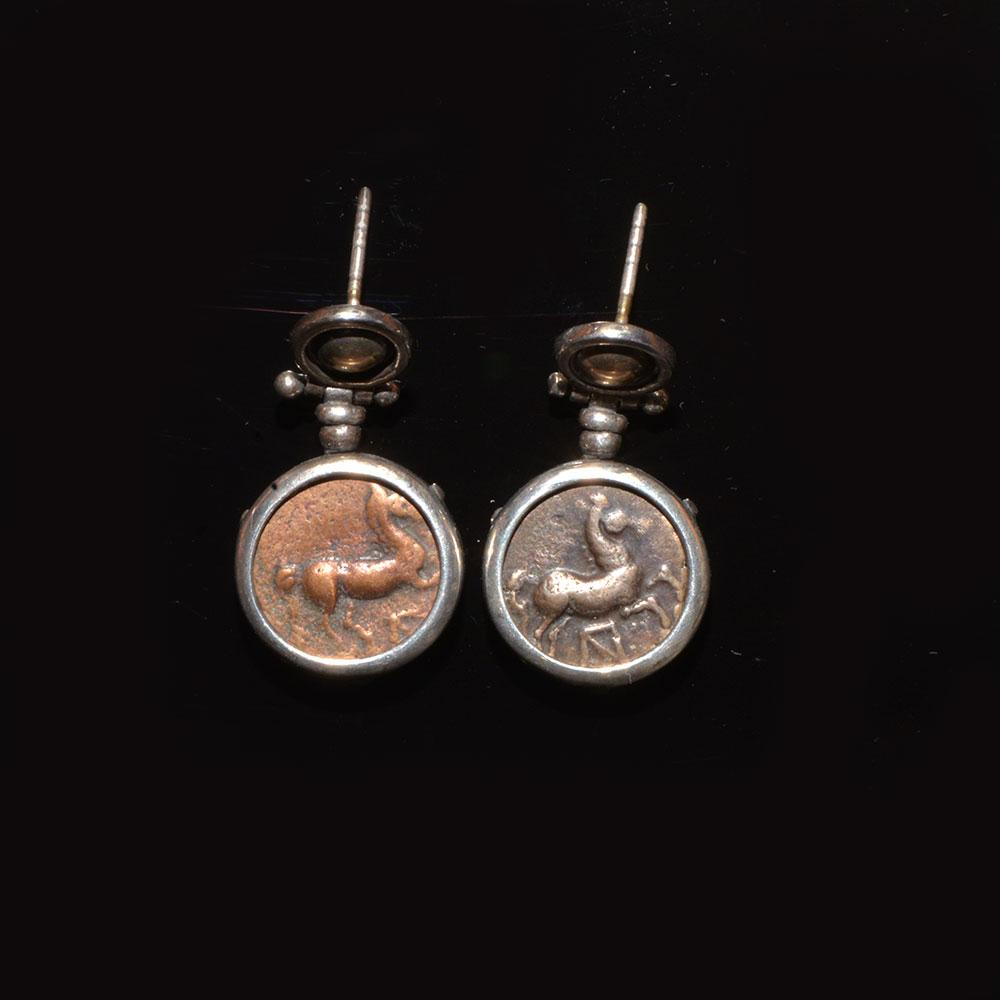 A pair of Thracian bronze coins (ca. 400 - 380 BC) set in silver earrings - Sands of Time Ancient Art