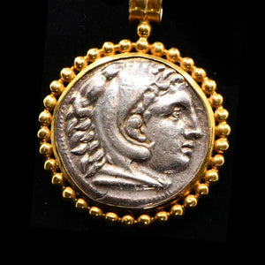 A silver Tetradrachm of Alexander the Great set as a pendant, ca. 336 - 323 BCE - Sands of Time Ancient Art