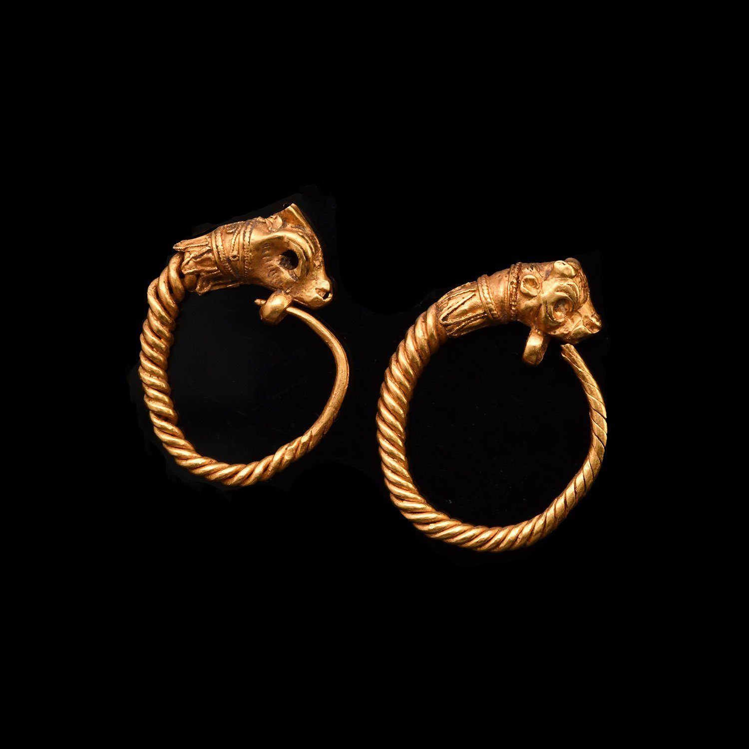 * A fine pair of Greek Antelope Earrings, Hellenistic Period, ca. 3rd - 1st century BCE