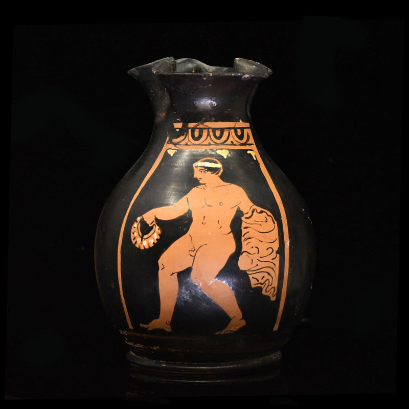 An Apulian Red Figure Trefoil Oinochoe, ca. 4th century BCE