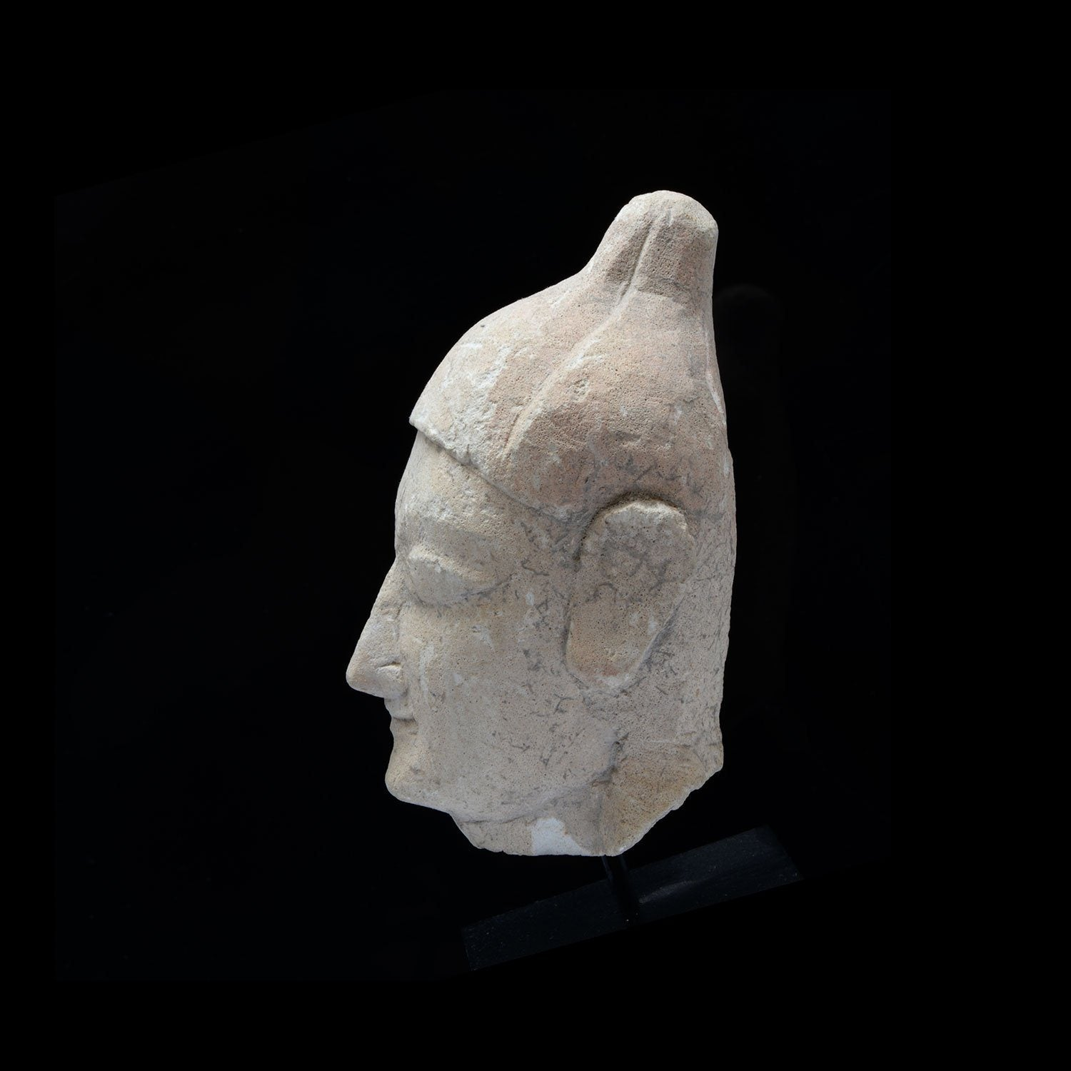 A Cypriot Limestone Head of a Youth, Archaic Period, 600-500 BCE - Sands of Time Ancient Art