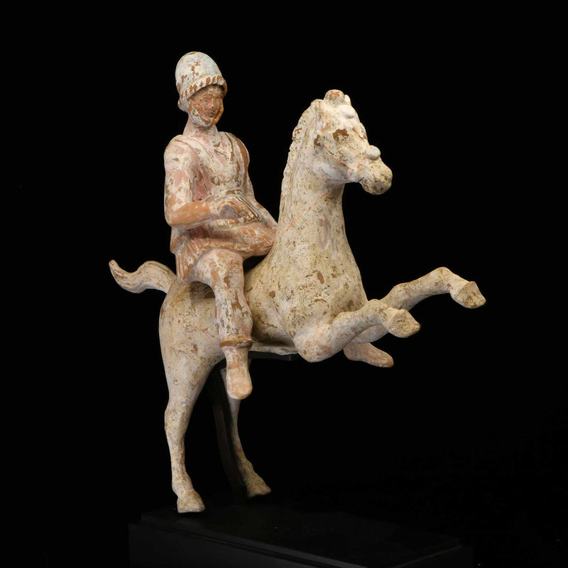 A Greek Terracotta Warrior on Horse, Canosa, circa 4th-3rd Century BCE - Sands of Time Ancient Art