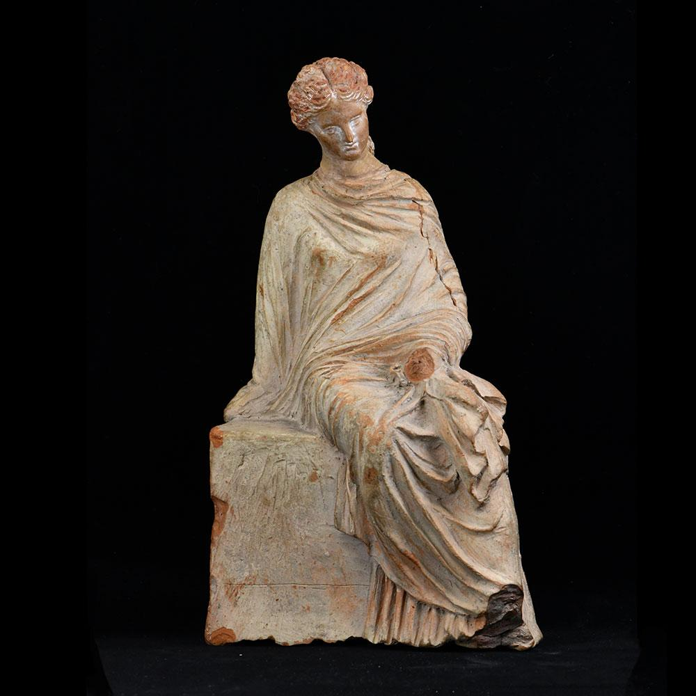 * A Greek Terracotta Statue of a Lady of Fashion, 4th century BC - Sands of Time Ancient Art