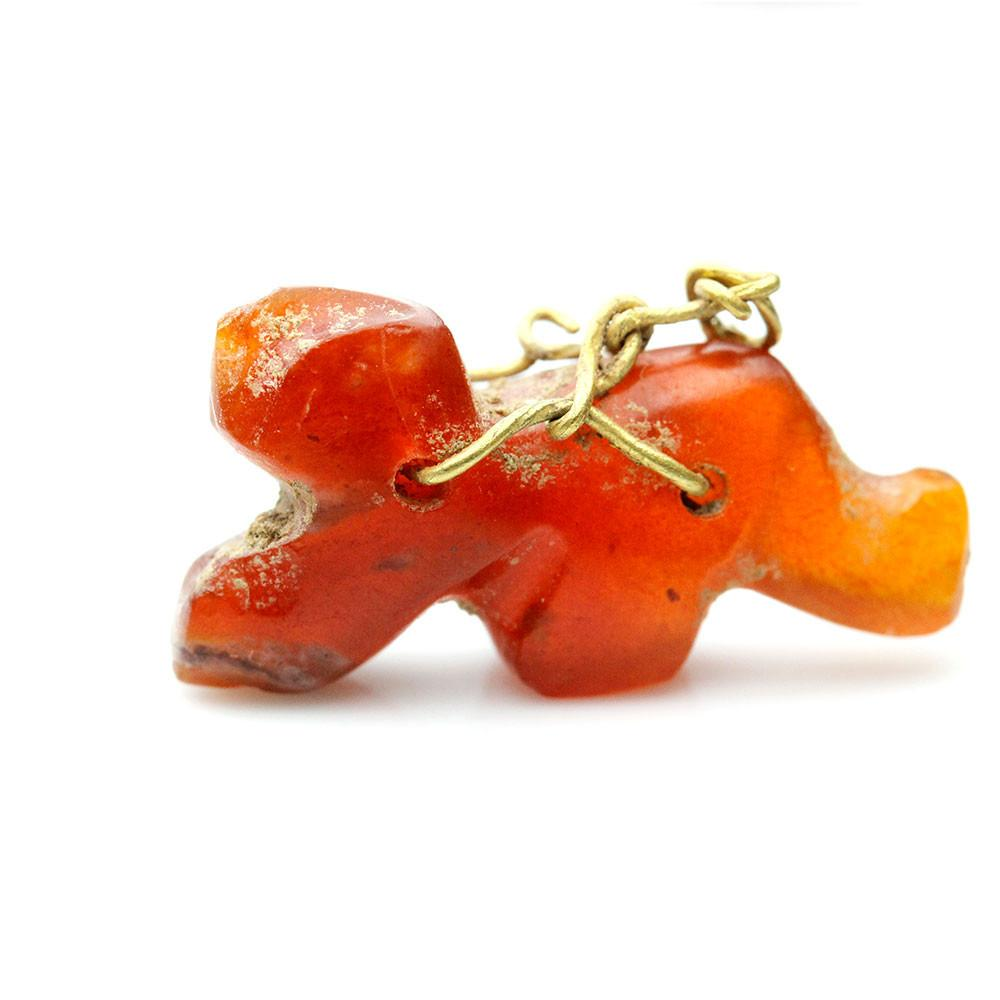 A Persian Carnelian & Gold Lion Amulet, Achaemenid Period, ca 549 - 331 BCE - Sands of Time Ancient Art