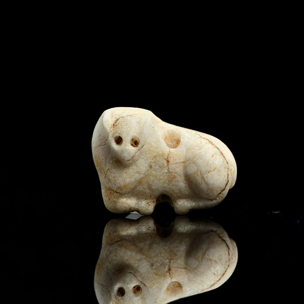 A Sumerian Marble Bull Stamp Seal, Late Uruk/Jemdet Nasr Period, ca. 3100-2900 BCE - Sands of Time Ancient Art