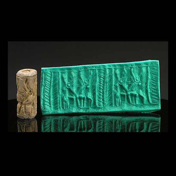 A Mittonian Frit Cylinder Seal, Northern Mesopotamia, circa 1400-1100 BCE - Sands of Time Ancient Art