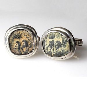 Bronze Nabatean Coins set as Cufflinks, ca 9 BC - AD 40.