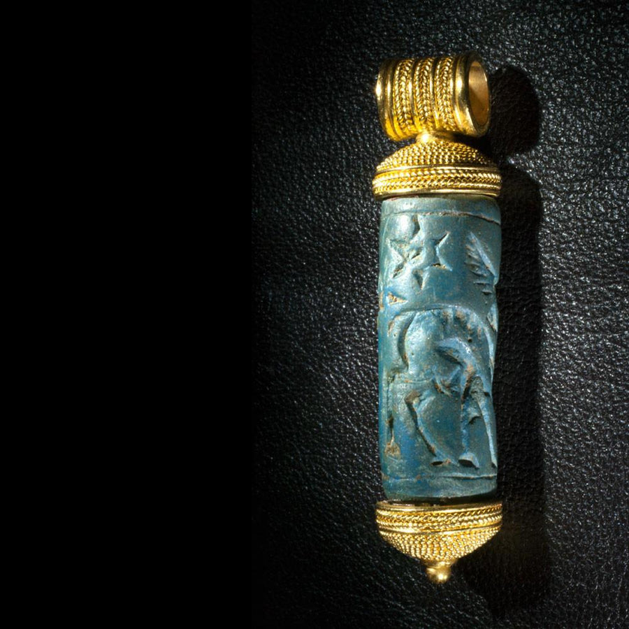 A rare Mittanian Cylinder Seal of Egyptian Blue, ca. 1500 - 1300 BCE - Sands of Time Ancient Art