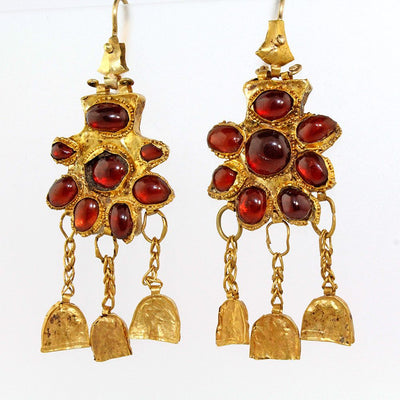 A superb pair of Gold & Garnet Earrings, Nineveh, ca. 2nd century BC/AD - Sands of Time Ancient Art