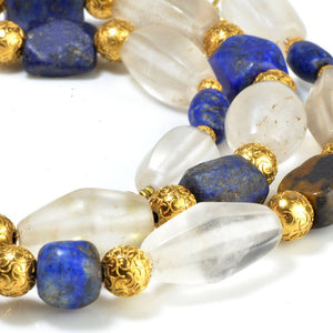A Western Asiatic Lapis Lazuli and Rock Crystal Necklace, Persian Period, 1st millennium BC - Sands of Time Ancient Art