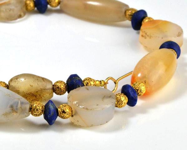 A Western Asiatic Chalcedony and Lapis Lazuli Bead Necklace, 1st millennium BC
