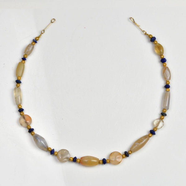 A Western Asiatic Chalcedony and Lapis Lazuli Bead Necklace, 1st millennium BC - Sands of Time Ancient Art