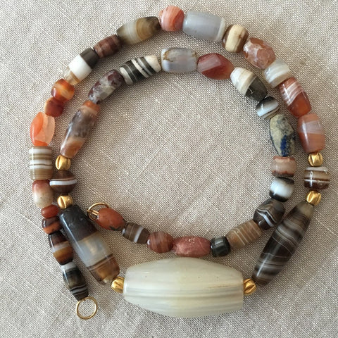 A Western Asiatic Banded Agate Bead Necklace, ca. 1st millennium BC - Sands of Time Ancient Art