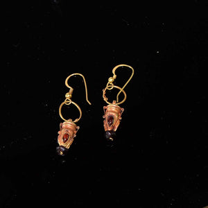 A pair of Parthian Gold and Garnet drop earrings, ca. 2nd-3rd Century CE - Sands of Time Ancient Art