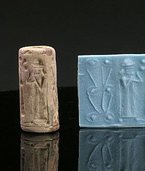 A Neo-Assyrian Steatite Cylinder Seal, Northern Mesopotamia, circa 800-700 BCE - Sands of Time Ancient Art