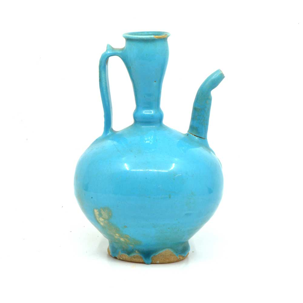 An Islamic blue glazed Spouted Ewer, Seljuk Period, ca. 12th - 13th Century CE - Sands of Time Ancient Art