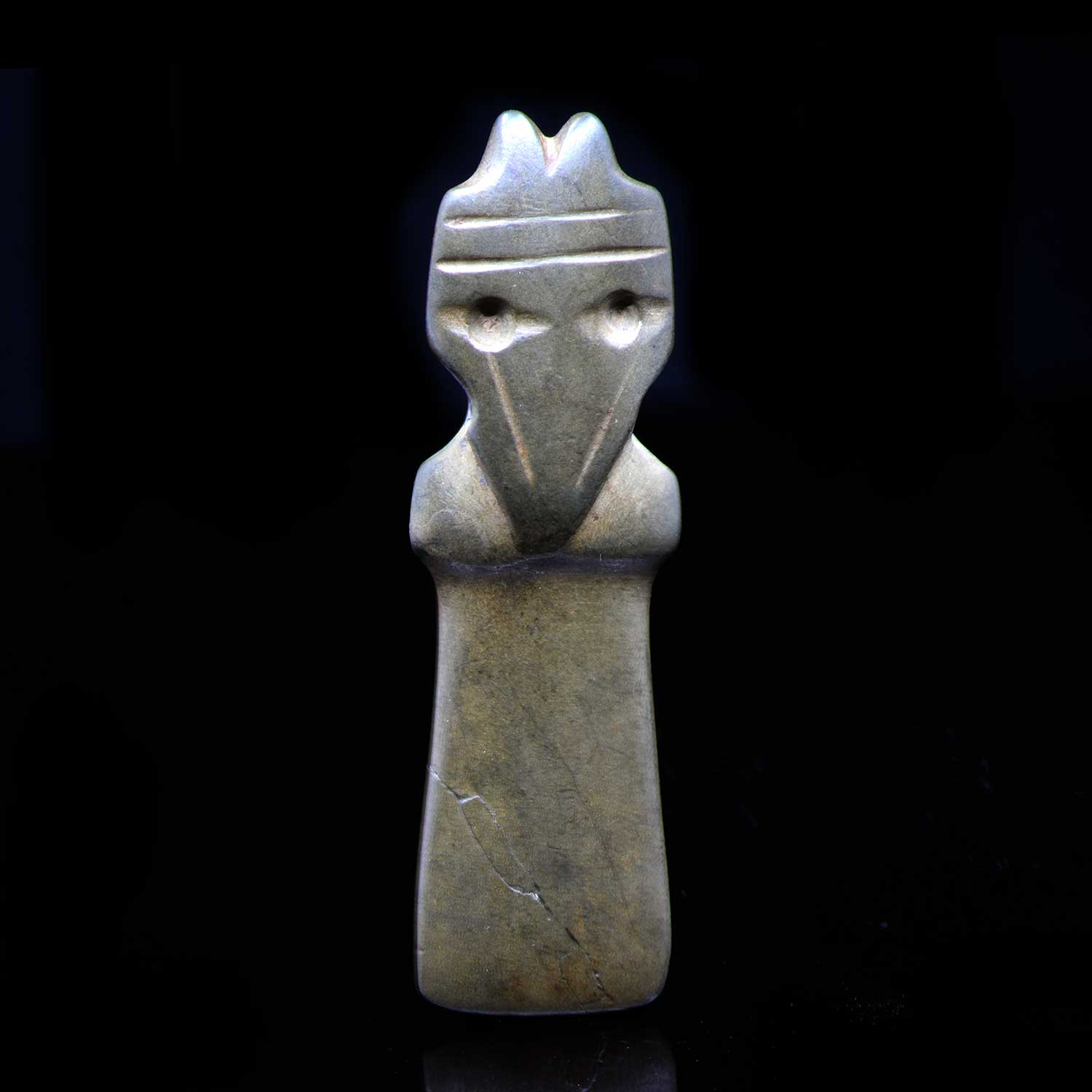 A Costa Rican Jadeite Owl Pendant, Classic Period, 300 - 900 CE - Sands of Time Ancient Art