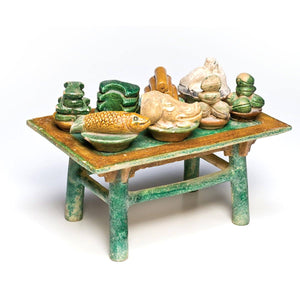 A Chinese Offering Table with Offerings, Ming Dynasty, ca. 1368 - 1644 - Sands of Time Ancient Art